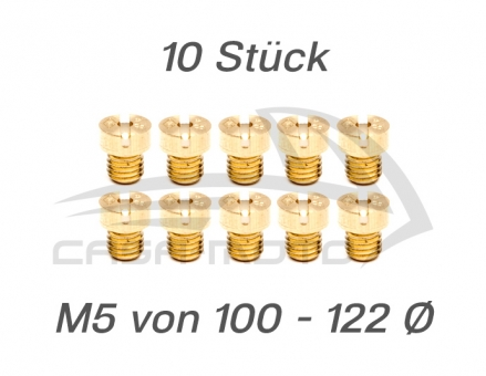 M5 Hauptdüsensatz 10 Stück/100 - 122 Ø Ape 50 / Vespa V50  PK50